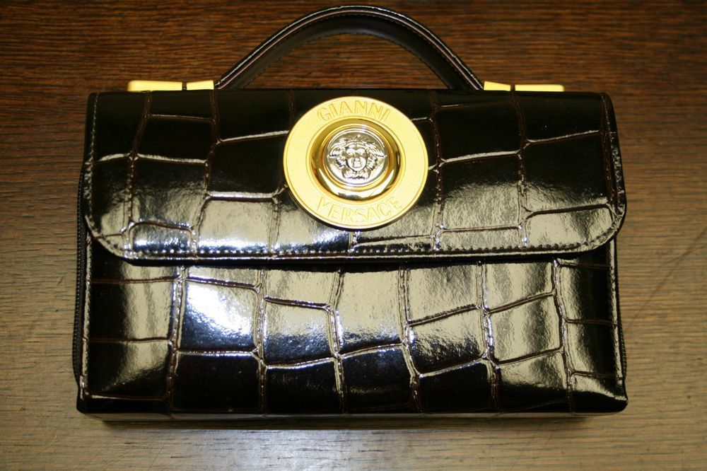 Gianni Versace Medusa Hand Bag Purse Brown Embossed Crocodile Leather Vintage