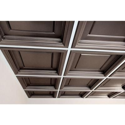 Ceilume Madison Faux Tin 2 Ft X 2 Ft Lay In Coffered Ceiling Panel Case Of 6 V3 Mad 22pbr 6 Coffered Ceiling Ceiling Panels Faux Tin
