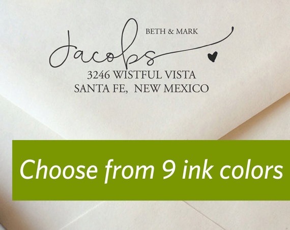 Modern Calligraphy Return Address Stamp Custom Color Weve Moved Wedding Personalized