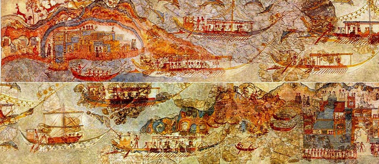 Bronze Age Minoan Flotilla Fresco excavated at Akrotiri, on the Greek island of Santorini. The eruption of a volcano about 1630 BC is shown in these frescos.