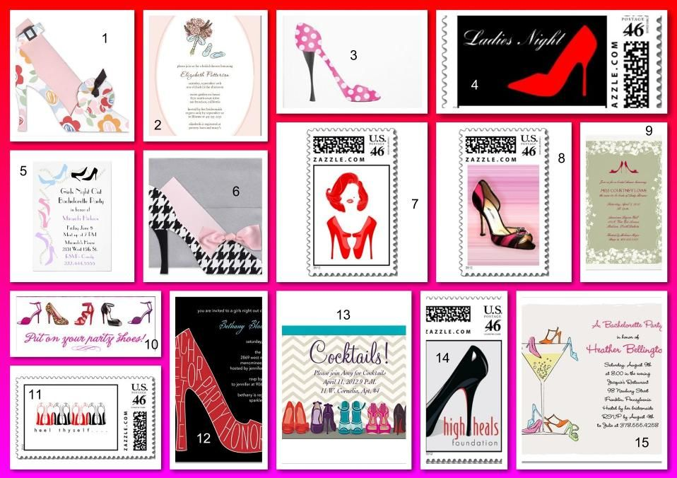 Shoe Lover\'s Theme Invitations and Stamps | Party invitations and Stamps