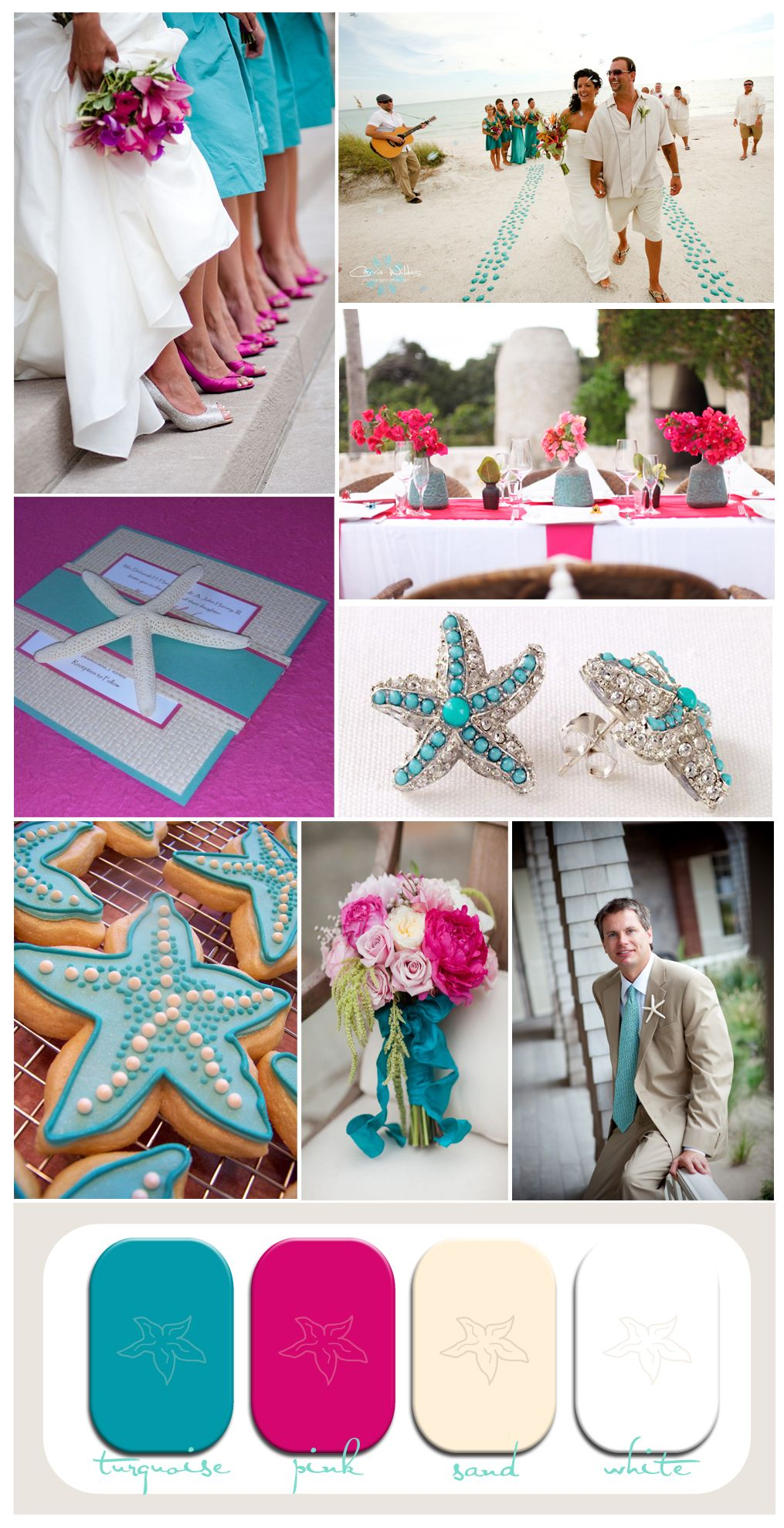 Pink and Turquoise Wedding Inspiration Board for a Starfish Themed Beach Wedding