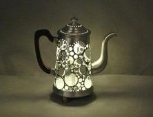 Old Coffepot Transformed Pot Lights Coffee Pot Diy Lamp