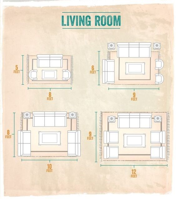 44+ Living room rug placement ideas