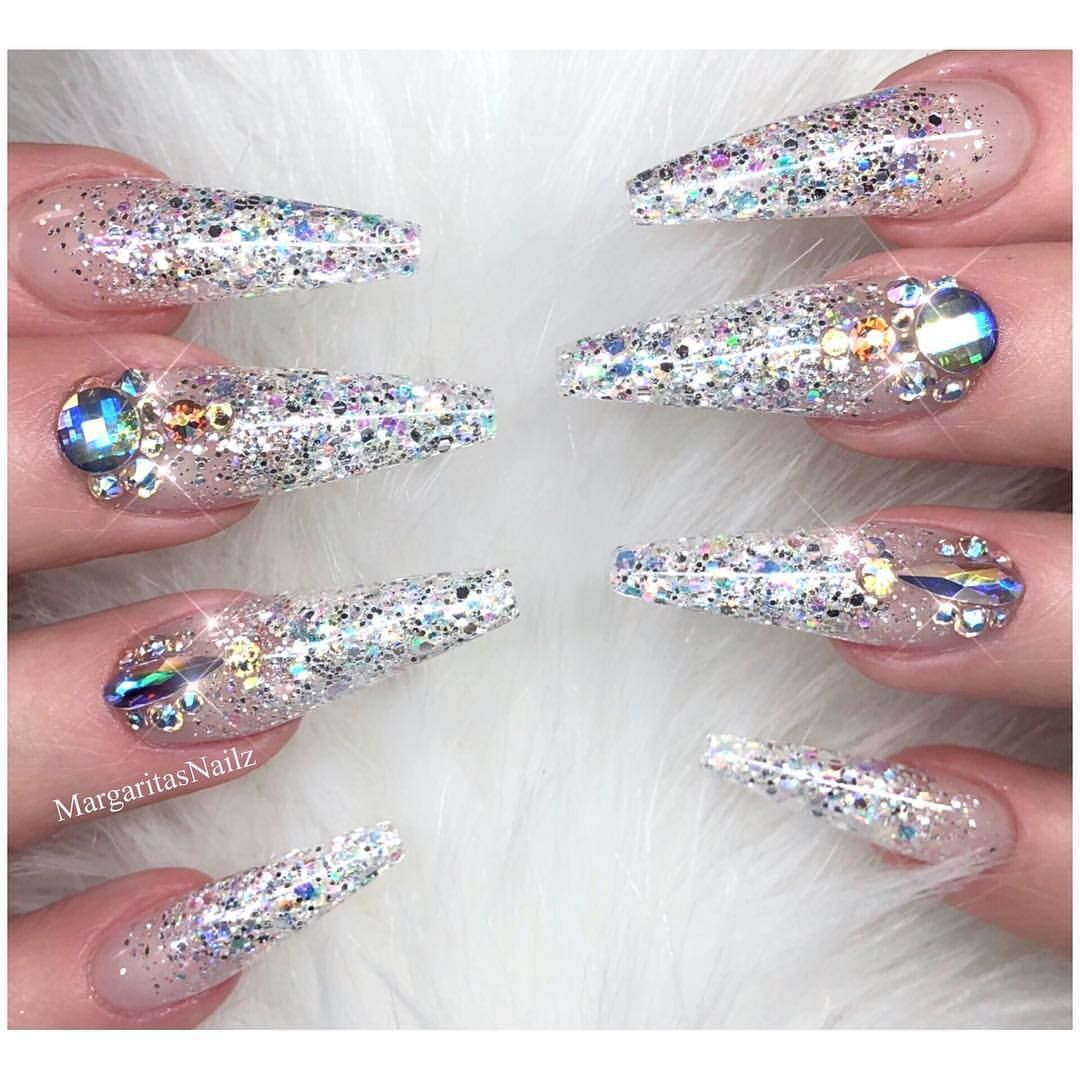Glitter Ombré Coffin Nails Sparkly nail art design New year nails ...