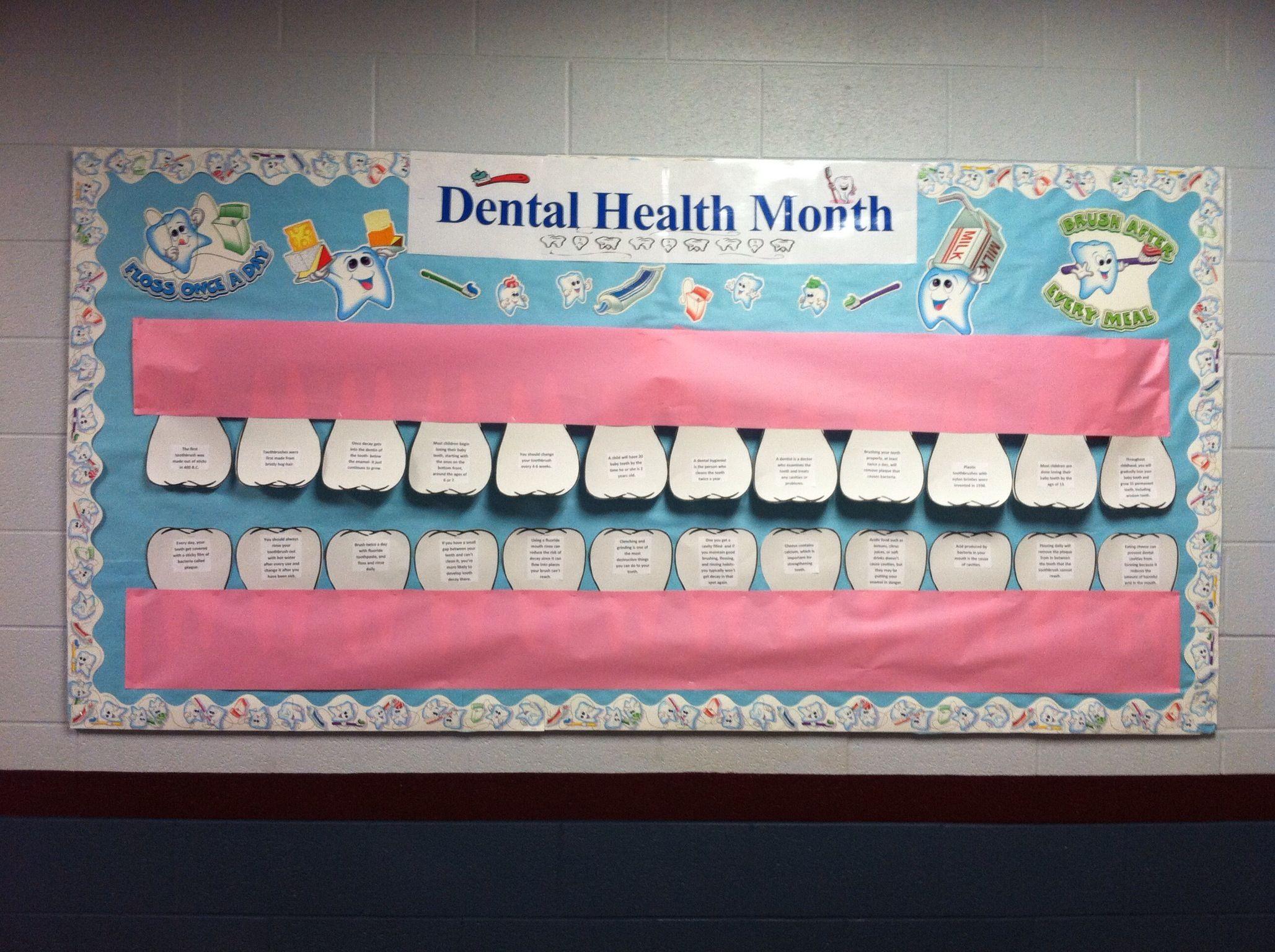 Dental health month bulletin board repinned by