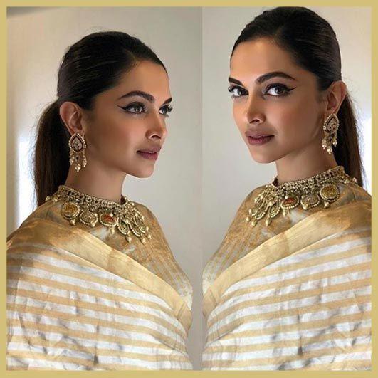 Deepika Padukone In Beige Gold Striped Raw Mango Saree And Tanishq Super Dancers 2 Padmavat Bollywood Hairstyles Deepika Padukone Hair Deepika Padukone Saree