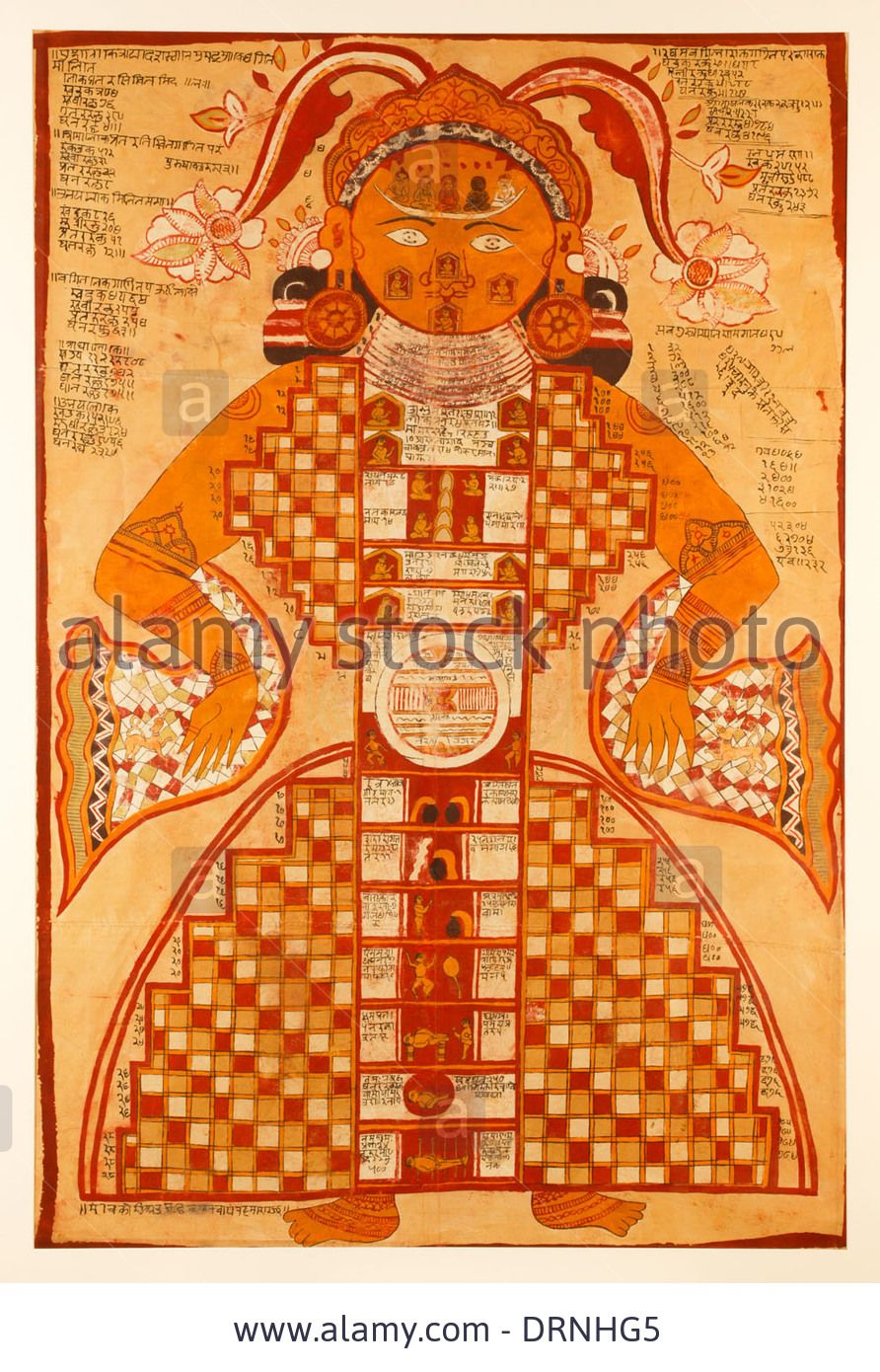 Jain Purushkara Yantra, Cosmic Figure Gouache On Silk From Rajasthan Stock Photo, Picture And Royalty Free Image. Pic. 66242965