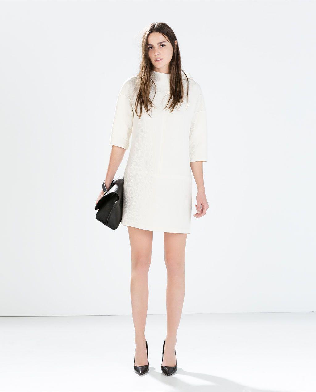 zara vestido blanco liso