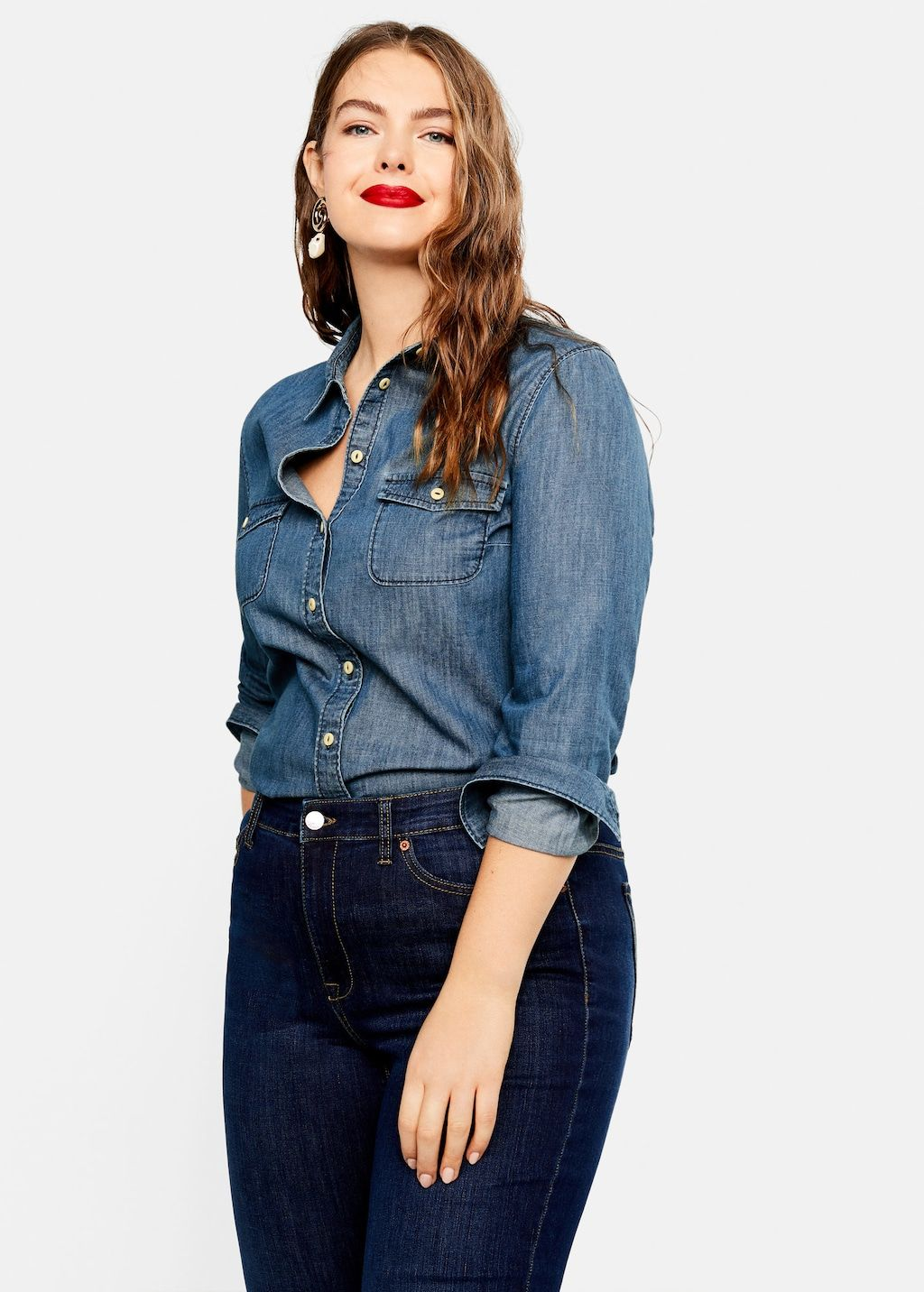 56dd8bfefa9afc Medium denim shirt - Plus sizes in 2019 | GET DRESSED | Denim blouse ...