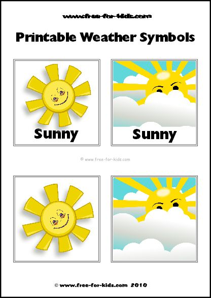 Sunny Day Weather Symbols Fitness Pinterest School - Weather forecast printable