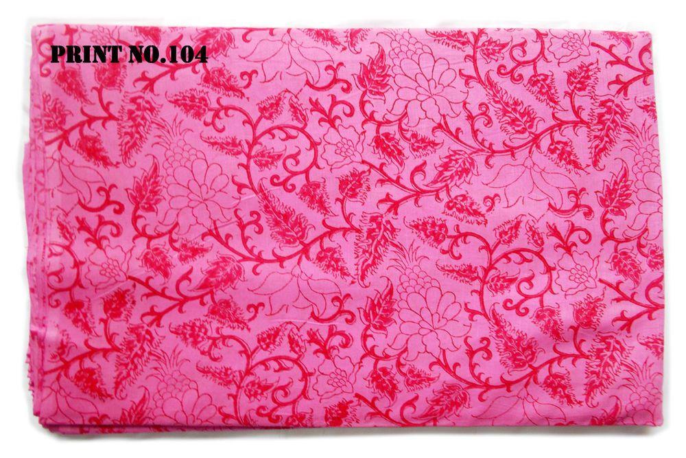 Running Hand Block Print Pure Fabric Sanganeri 10 Yard Indian 100/% Cotton Pink