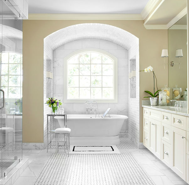 Beautiful Master Bathroom Design With Yellow Walls Paint Color Marble Basketweave Tiles Floor