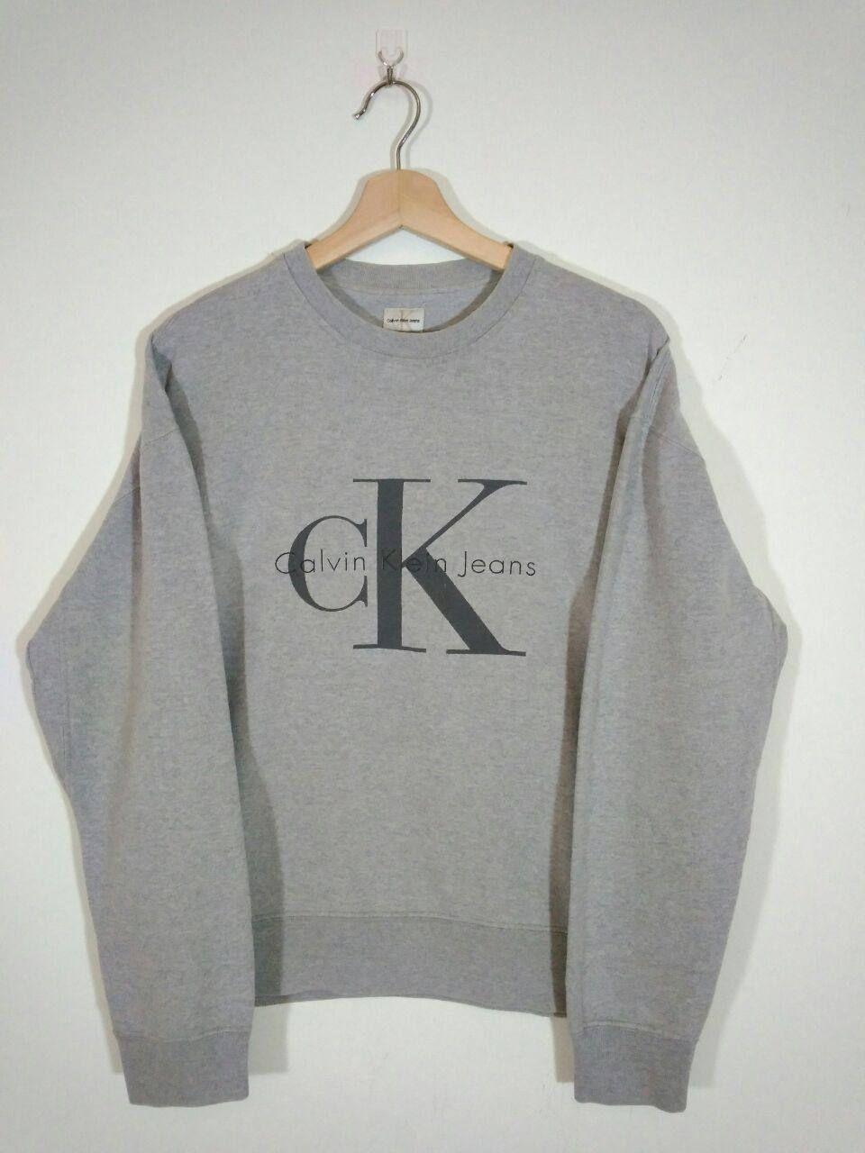 Vintage 90s Calvin Klein Jeans Big Logo Crewneck Grey Sweatshirt Sweater Jumper Size M Sweatshirts Calvin Klein Sweatshirts Calvin Klein Jeans