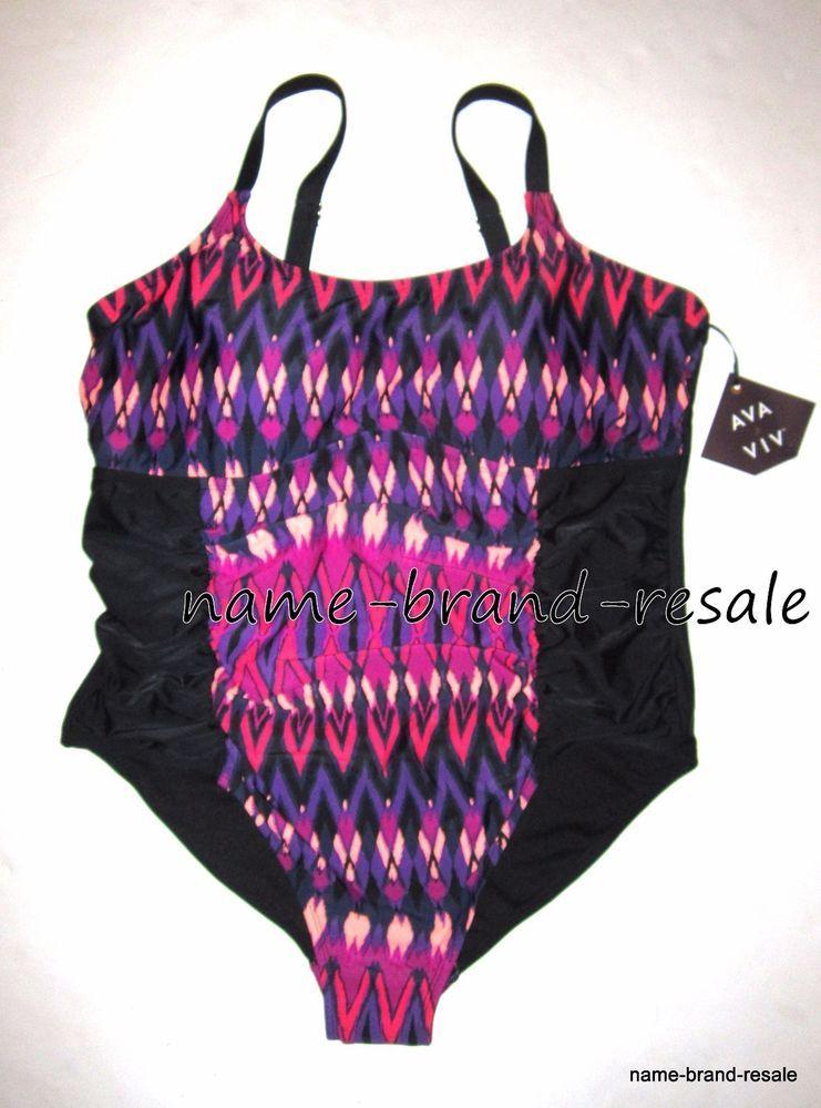 New Womens AVA /& VIV Red /& White Swimwear Bikini Top Swimsuit Plus Size 24W