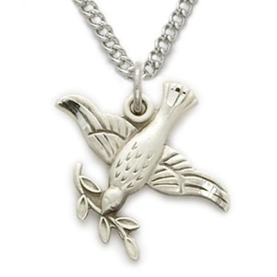 Sterling silver dove necklace in an olive branch design on 18 sterling silver dove necklace in an olive branch design on 18 chain mozeypictures Image collections