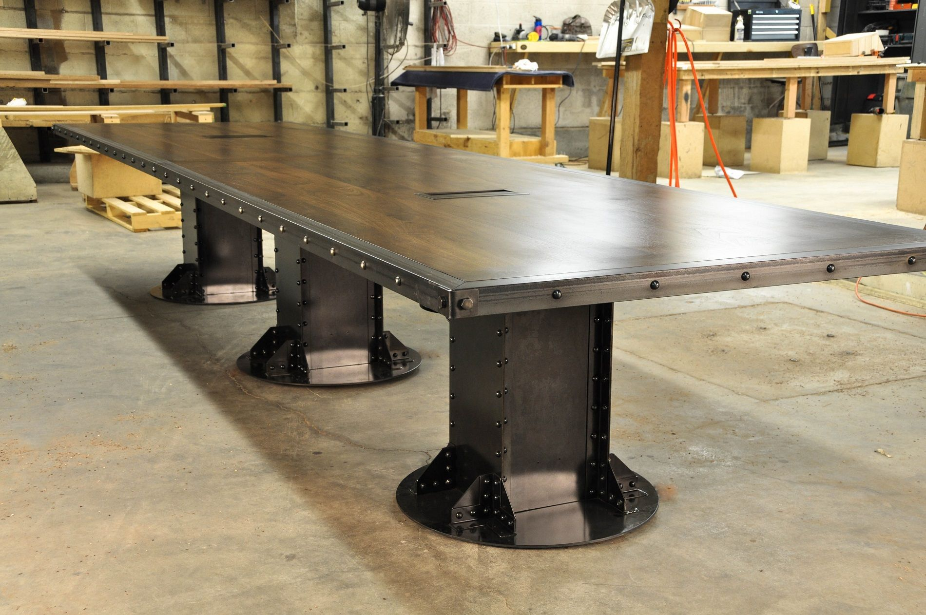 I Beam Conference Table In Walnut With Data Ports Built By Vintage Industrial In Phoenix Industrial Conference Table Conference Table Dining Table