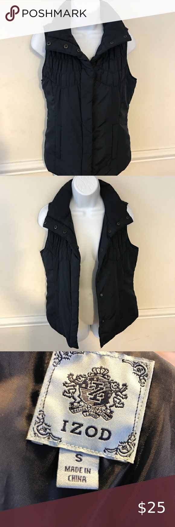 Izod Small Puffer Snap Up Vest Jacket Vest Jacket Coats Jackets Women Reversible Puffer Vest [ 1740 x 580 Pixel ]