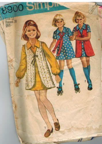 8900 Vintage Simplicity Sewing Pattern Girls 1970\'s Dress Vest OOP ...