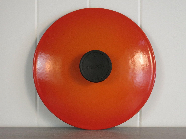 Vintage Cousances 18 Orange  Lid - Enameled Cast Iron Le Creuset France Lid - Cast Iron Sauté Pan Skillet Lid Only - Removeable Knob Cover by EightMileVintage on Etsy
