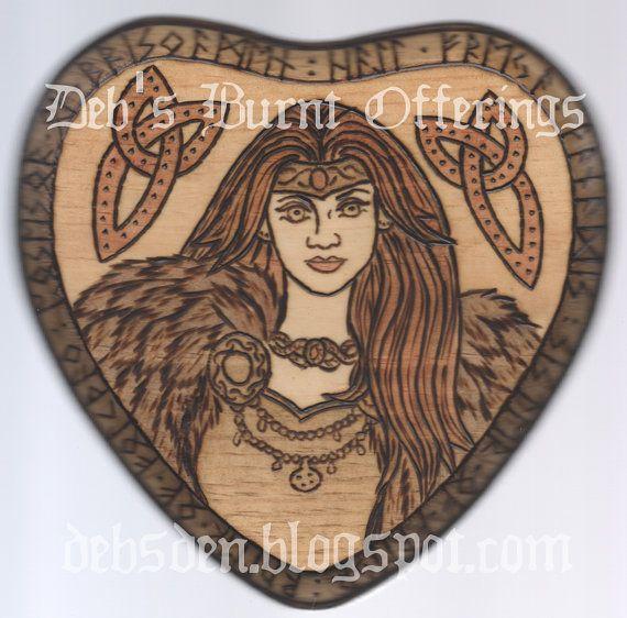Freya Heart Wood Plaque Pyrography Norse Goddess Viking Heathen