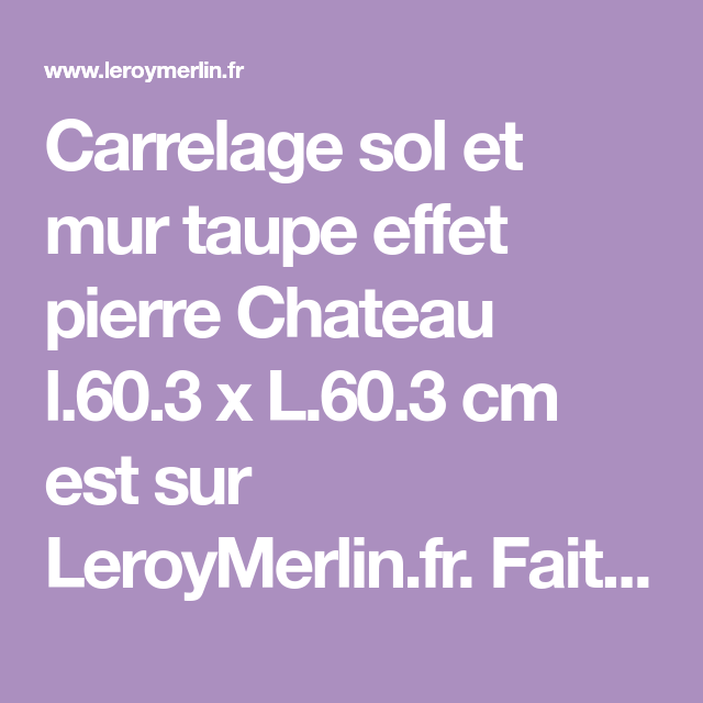 Carrelage Sol Et Mur Taupe Effet Pierre Chateau L603 X L