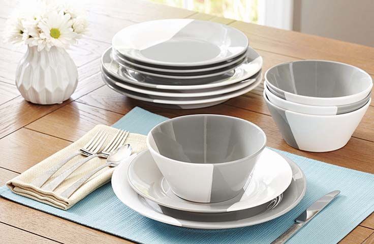 Better Homes And Gardens Color Dipped 12 Piece Dinnerware Set Grey