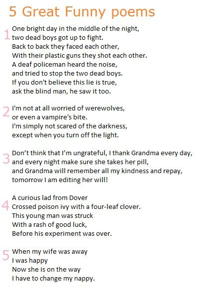5 Great Funny Poems #poem #poems Funnnnny!!! Funny