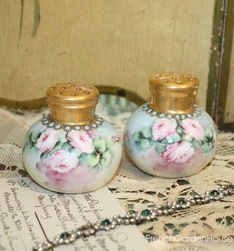 Antique Enameled Hand Painted Porcelain Salt Pepper