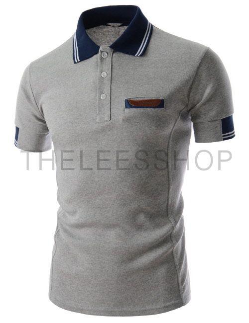 (MZST25-GRAY) Mens Slim Fit Jersey Stylish Chest Pocket Short Sleeve Collar Tshirts