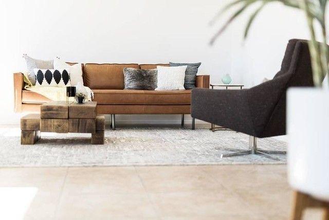 Axel 89#34; Sofa, Leather, Saddle Wohnzimmer