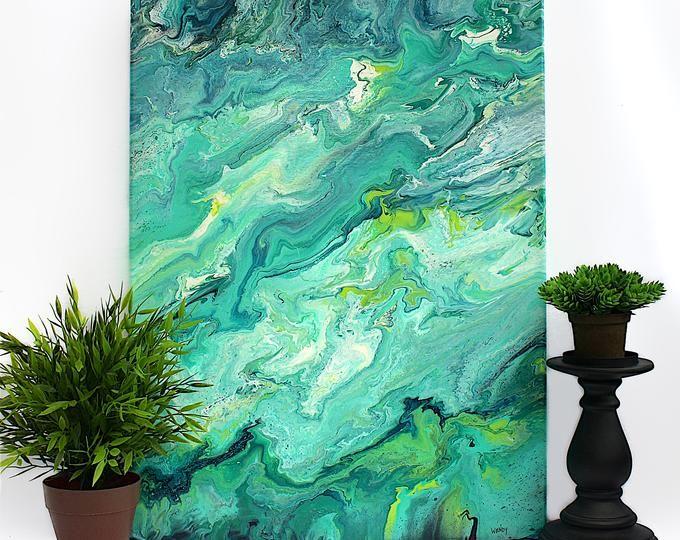 Cool Tones Watercolor Wall Mural / artistic peel and stick wallpaper wall mural / abstract temporary wallpaper 522
