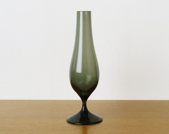 Vintage Whitefriars Shadow Green Stemmed Soda Range Vase 9606