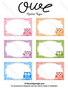 Free Printable Owl Name Tags The Template Can Also Be Used For - Cubby name tag template