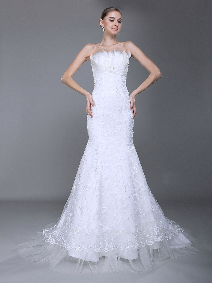 Mermaid dress wedding  Feathered Bust Lace Mermaid Wedding Dress  WEDDING  Pinterest