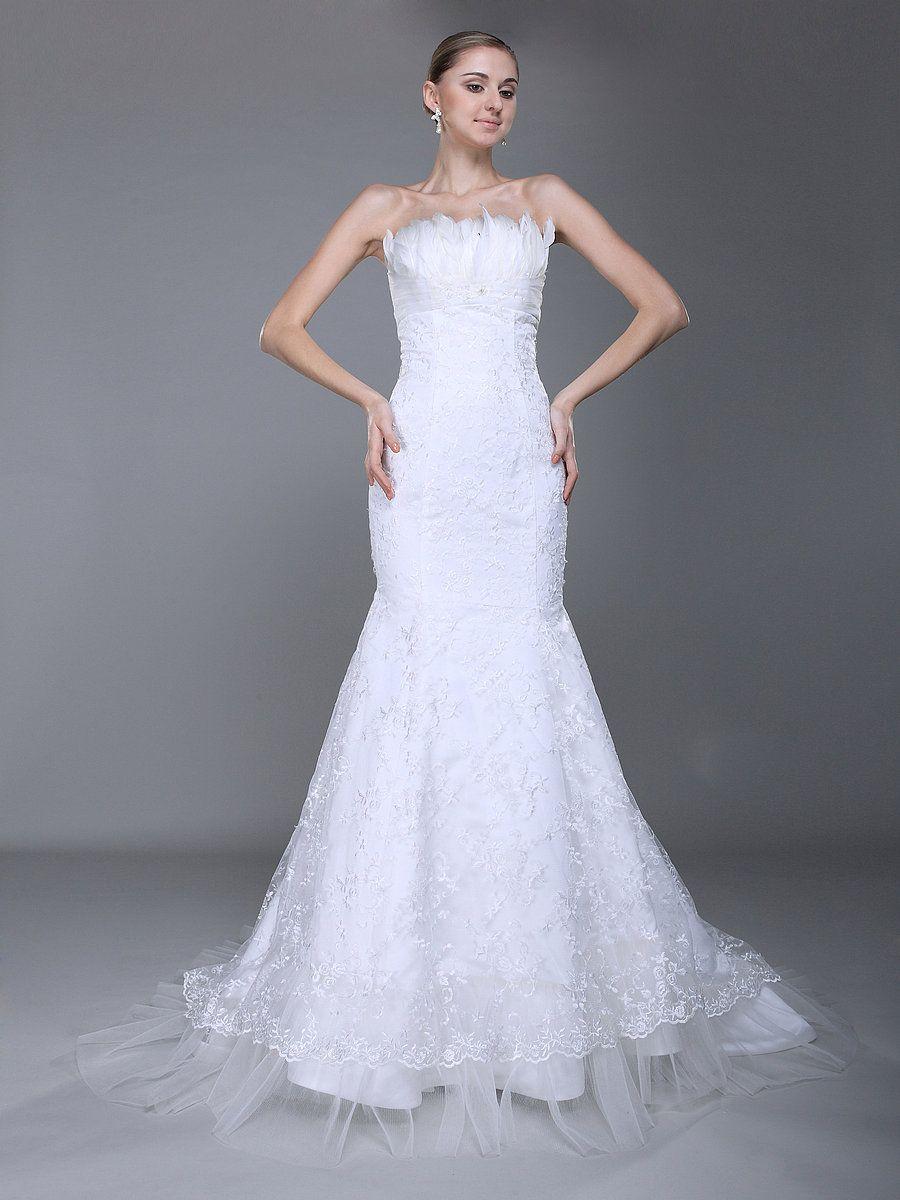 White mermaid wedding dress  Feathered Bust Lace Mermaid Wedding Dress  WEDDING  Pinterest