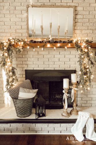Photo of Neutral Christmas Mantel & A Cozy Family Room – A Brick Home by Marly Dice