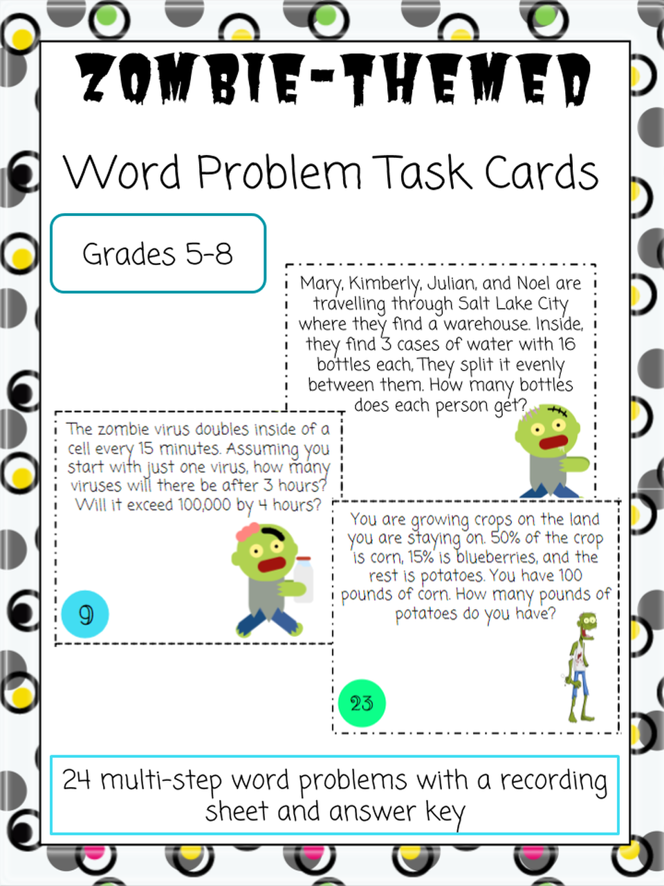 Zombie Themed Word Problem Task Cards Word Problems Word Problems Task Cards Task Cards [ 1280 x 960 Pixel ]