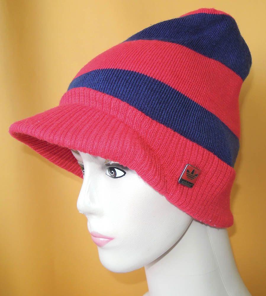 d1225cf9e3c Adidas Visor Beanie Ski Hat Vintage 80s Signature Trefoil Red Stripe  Acrylic Snow Cap (5 5) by InPersona on Etsy