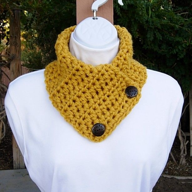 Photo of Mustard NECK WARMER SCARF with Two Wood Buttons, Small Buttoned Cowl, Yellow Gold Thick Winter Acrylic Crochet Knit, Ready to Ship in 3 Days