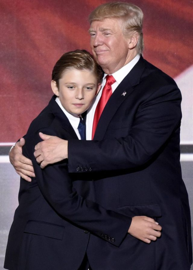 The president-elect with his youngest son, Barron, at the Republican National Convention in July. (Photo: Ida Mae Astute/ABC via Getty Images)