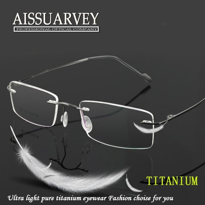 Men Glasses Frames Titanium Rimless Thin Fashion Brand