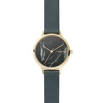 Skagen Ladies' Green Leather Strap Watch | H.Samue