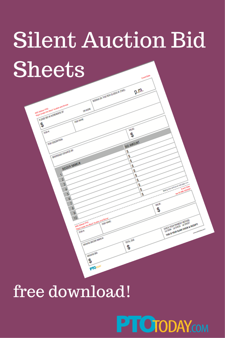 download our free bid sheets for your upcoming auction