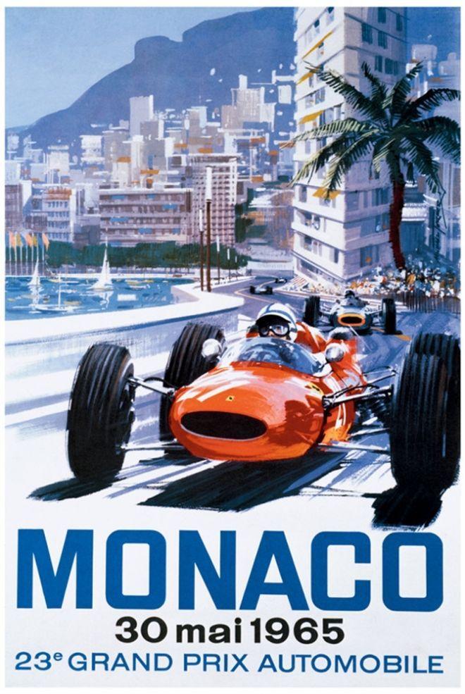 AV94 Vintage 1966 24th Monaco Grand Prix Motor Racing Poster Re-print A3