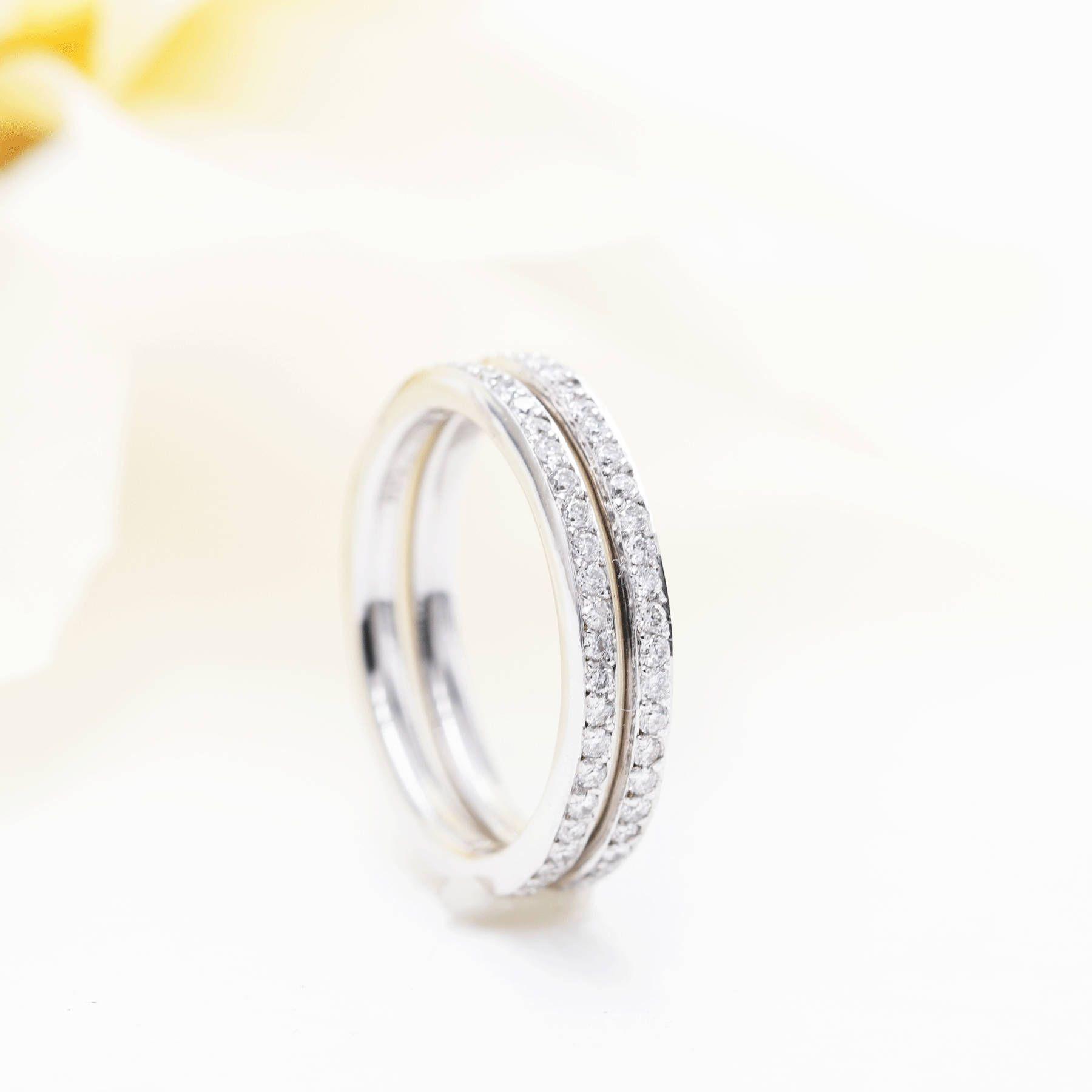 High Quality Diamond Double Row Wedding Band 0 52ct Natural Etsy Diamond Wedding Bands Quality Diamonds Diamond Bands