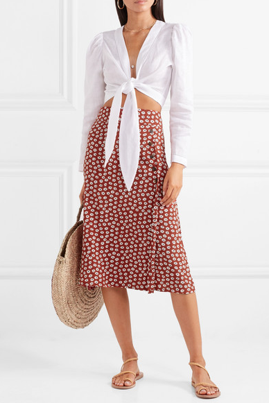 cfdaee08ff Joy floral-print crepe midi skirt - Faithfull The Brand posted a photo on  Instagram of Lucy Williams wearing this 'Joy' skirt in Comporta, Portugal -  we ...