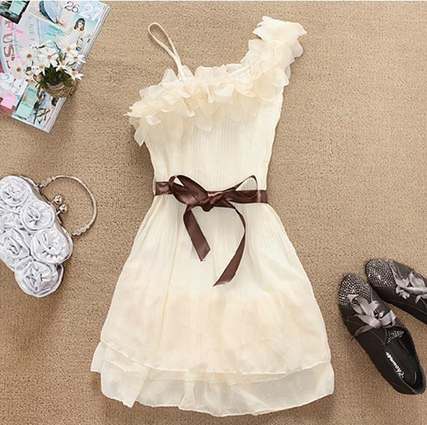 sweet 3D lace flower Fresh one shoulder dress