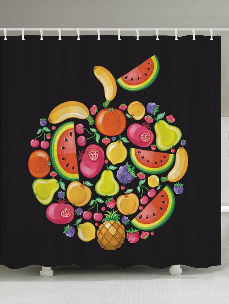 Cartoon Fruits Pattern Fabric Waterproof Bathroom Shower Curtain