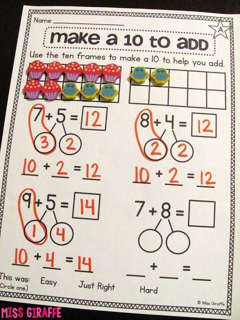 Making A 10 To Add 1st Grade Math Math Addition First Grade Math